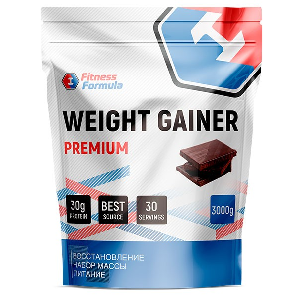 Анонс фото fitness formula weight gainer premium (3000 гр) шоколад